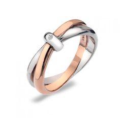 Hot Diamonds - Eternity Silver & Rose Gold Plated Interlocking Ring - Rings