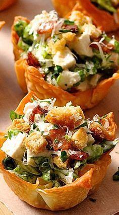 Caesar Salad Wonton Cups