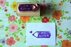Personalized rubber stamp for teacher  hand carved by HappieStamps