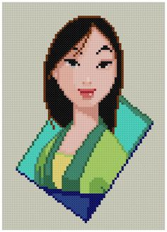 PDF Cross Stitch pattern 0214.Mulan INSTANT DOWNLOAD by PIXcross