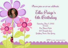 ella paige birthday flower invite by andrewandelladesigns on Etsy, $12.00