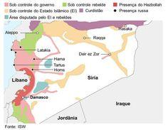 Mapa de confrontos na Síria (Foto: BBC). http://g1.globo.com/mundo/noticia/2015/11/entenda-quem-luta-contra-quem-na-siria.html