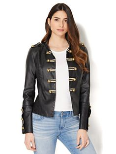 Shop Faux-Leather Military Jacket. Find your perfect size online at the best price at New York & Company.