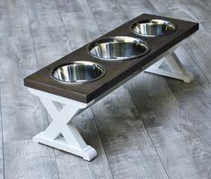 """Medium Elevated Dog Bowl Stand – 3 Bowls - Farmhouse Table X Pattern – Raised Dog Bowl - Tall - Dog Lover Gift Medium 3 Bowl – """"X"""" Pattern – Dog Feeding Stand – Tall – (Color Options Availabl Diy Furniture Table, Kitchen Furniture, Kitchen Decor, Kitchen Ideas, Kitchen Small, Raised Dog Feeder, Raised Dog Bowls, Farmhouse Style Furniture, Farmhouse Table"""