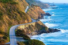 Best of California on a Budget:     MOST SCENIC DRIVE: PACIFIC COAST HIGHWAY:    Officially known as California State Route 1, the Pacific Coast Highway is a popular locale for a 656‐mile road trip that begins in Monterey  and ends in Morro Bay. Dazzling views of soaring cliffs along the Pacific Ocean coastline, paired with tight turns, make this a scenic trip  that takes about five hours to complete.