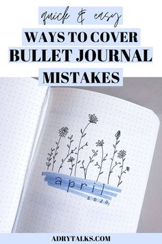 Bullet journal mistakes can be frustrating and annoying to deal with! Here are 7 creative ways to cover up and hide your bullet journal mistakes. Bujo Monthly Spread, Bullet Journal Monthly Spread, Bullet Journal Tracker, Bullet Journal Themes, Bullet Journal Layout, Bullet Journal Inspiration, Bullet Journals, Bullet Journal For Beginners, Bullet Journal How To Start A