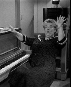 Aunt Bee enjoying some elixir she purchased on the streets of Mayberry - The Andy Griffith Show
