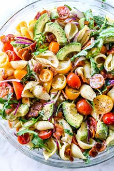 BLT Pasta Salad With Creamy Lemon Chive Dressing Video! BLT Gluten Free Pasta Salad Perfect For Summer! Mexican Avocado BLT Pasta Salad Dinner Then Dessert. Blt Pasta Salads, Blt Salad, Pasta Salad With Avocado, Quinoa Salad, Spinach Salads, Orzo Salad, Arugula Salad, Meal Salads, Creamy Avocado Pasta