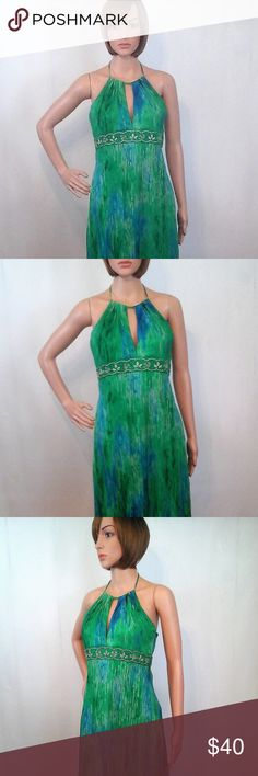 """Laundry by Shelli Segal 4 Green Blue Halter Dress Gently worn, clean and in excellent pre-owned condition.  Chest = 16"""" (armpit to armpit - across the front) Length = 43"""" (shoulder to hem) Material:  100% Silk Features: Flowy handkerchief hem, embroidered band, fully lined, keyhole front, hidden side zipper, sleeveless, backless  No trades or modeling of clothing or accessories.  I will gladly provide additional measurements if needed. All items are from a smoke-free/pet-free home. Laundry…"""