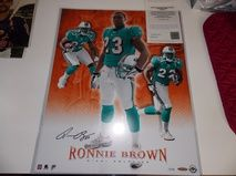 RONNIE BROWN Autograph Signed Miami Dolphins 16x20 Photo Upper Deck W/COA 17/150    $39.95