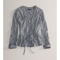 American Eagle Outfitters Ae Flared Jersey Cardigan ($20) ❤ liked on Polyvore featuring tops, cardigans, jersey top, macrame top, crochet cardigan, american eagle outfitters and crochet tops