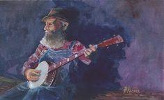 Bill Kassel Fine Art Studio: Appalachian Mountain Man with Long Neck Banjo  -  ...