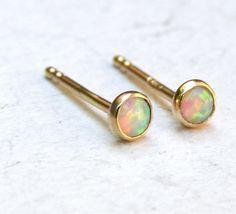 Opal Earrings fine gold Stud earrings 14k solid Gold post Earrings handmade earrings 3mm Back to school earrings