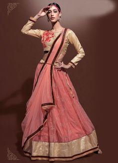 Peach & Cream Jaipuri Silk & Net Lehenga Choli