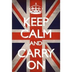 Keep Calm and Carry On poster...  British flag, and CHEAP