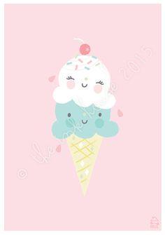 GELATO PRINT ice-cream illustration by The Ink House / Liz Alpass on Etsy