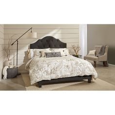 Arlene Upholstered Bed in Steel