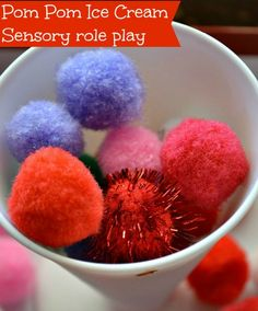 Pom Poms Sensory Activities for 100 Days of Play Age group: 1-5 P1.10 participate in a variety of gross/fine motor and sensory activities P.5.1 grasps small objects