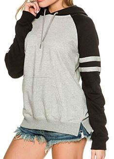 f18b417fda7 Fensajomon Womens Classic Drawstring Color Block Hoodie Pullover Sweatshirt  Grey S