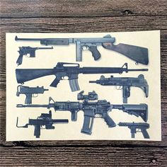 Vintage Style Military Weapons Wall Art Deco Beautiful vintage art deco posters of Military and civilian weaponry Makes for great conversation pieces Great way to make a man cave, bar, pub or any room