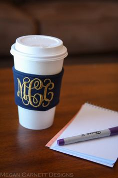 too cute. Custom Monogrammed Coffee Cozy: Navy with the gold... love it! but obvi with my monogram (; mHk!!
