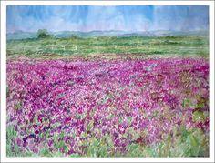 Cuadro en acuarela de un paisaje de pequeñas flores violétas