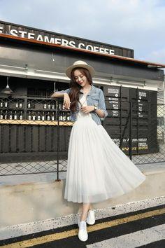 ideas korean fashion summer street styles skirts for 2019 Long Skirt Fashion, Korean Fashion Dress, Indian Fashion Dresses, Girls Fashion Clothes, Teen Fashion Outfits, Korean Outfits, Mode Outfits, Cute Fashion, Dress Outfits