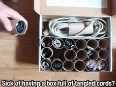 Organizing cords in a box - From 40 Tricks You Must Know for a Much Better 2013