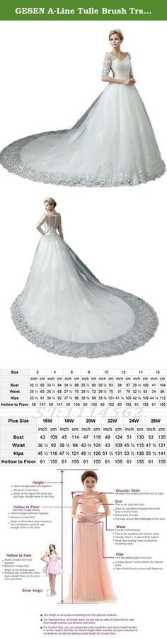 GESEN A-Line Tulle Brush Train Lace With sleeves Wedding Dresses 2016 Robe De Mariage White US14. This dress is appropriate for Wedding Dresses. Note: 1.Please select your size carefully, or will send to us your size,free of tailored for you free. 100.The real color of the item may be slightly different from the pictures shown on website caused by many factors such as brightness of your monitor and light brightness. .