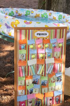 Prize board -- great idea for birthday parties & for reward incentives!