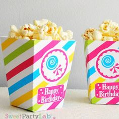 Candyland Popcorn Box by @partymazing #candyland #partyideas #partydecor #partyfavor #printableparty #candylandparty