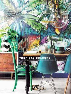 Real Living Australia April Tropical colours mural / Scandinavian Wallpaper & Decor Loveeee this home inspo Interior Tropical, Tropical Design, Tropical Style, Tropical Decor, Tropical Colors, Decoration Inspiration, Interior Inspiration, Room Inspiration, Decor Ideas