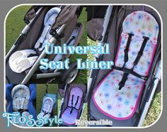 Universal Fit Seat Liner Pattern PRAM STROLLER with matching shoulder strap covers - optional padded head rest - easy on/off - reversible Sewing For Kids, Baby Sewing, Sew Baby, Sewing Ideas, Sewing Projects, Craft Projects, Pram Liners, Pram Stroller, Bebe