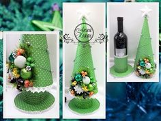 DIY Christmas tree with SURPRISE New Year& giftsRemovable designChristmas tree on a bottle of wine, Diy Christmas Ornaments, Christmas Baby, Christmas Time, Christmas Decorations, Diy Origami, Surprise Gifts, Bottle Crafts, Diy Gifts, Gift Wrapping