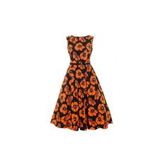 1950s Vintage Style Poppy Floral Audrey Hepburn Dress by Lady Vintage (330 BRL) ❤ liked on Polyvore featuring dresses, vintage day dress, vintage floral dress, poppy print dress, vintage floral print dress and vintage looking dresses