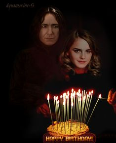"""thesnapes: """" Pictured: Hermione lights Severus's birthday cake // Artist: Aquamarine-S A very Happy Birthday to my wonderful husband! Your cake may be covered in candles, but you hardly look a day..."""