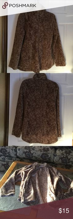 Stan Herman Jacket Zipper up the front, very soft and light weight.  Made in China.  100% polyester.  Very good condition.  Tan and brown in color.  26 inches from shoulder to bottom of jacket. Stan Herman Jackets & Coats
