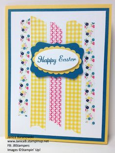 This is one of my Spring & Easter cards for my April card classes. #JBStampers - Easter Garden, super easy card using Gingham Garden washi tape!