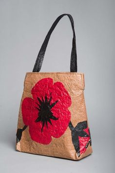 Handbag made from plastic grocery bags