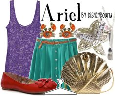 Disney inspired clothing by DisenyBound. // make this outfit for Disney with this color circle skirt and/or find/make the purple tank top. add an ariel inspired bow and that is perfection and simple Disney Themed Outfits, Disney Bound Outfits, Disney Dresses, Disney Clothes, Disneyland Outfits, Little Mermaid Outfit, The Little Mermaid, Disney Inspired Fashion, Disney Fashion