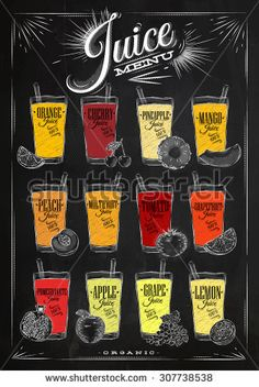 Poster juice menu with glasses of different juices drawing with chalk on the blackboard
