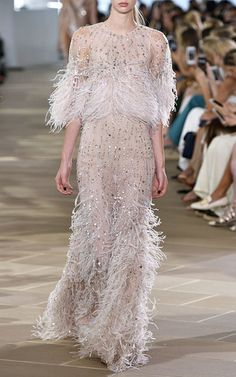 Beaded Ostrich Feather Gown, Blush by Monique Lhuillier at Neiman Marcus. Evening Dresses For Weddings, Evening Gowns, Prom Dresses, Wedding Dresses, Sleeve Dresses, Formal Dresses, Wedding Dress With Feathers, Feather Dress, Couture Mode