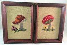 Vintage Cross-stitched Mushroom Pictures Set of by PrimWitchery