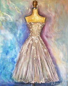 """""""Vintage Dress Painting"""" - Original Fine Art for Sale - © Jennifer Beaudet"""