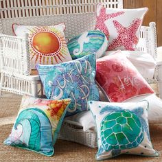 beach watercolor pillows // pbteen a more grown up version of this idea