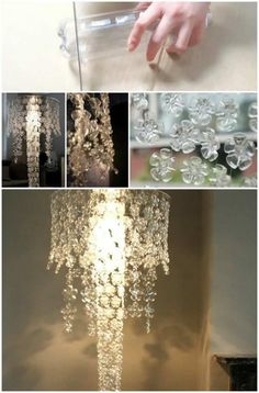 16 Genius DIY Lamps and Chandeliers To Brighten Up Your Home - DIY - is a free Complete Home Decoration Ideas Gallery . This 16 Genius DIY Lamps and Chandeliers Easy Plastic Bottle Crafts, Plastic Bottle Art, Reuse Plastic Bottles, Bottle Chandelier, Diy Chandelier, Chandeliers, Plastic Chandelier, Recycled Crafts, Diy And Crafts