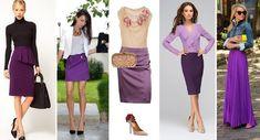 С чем носить фиолетовую юбку? - Сочетание цветов в одежде.