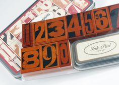 Cavallini Vintage Numbers Rubber Stamps Set with Ink $19