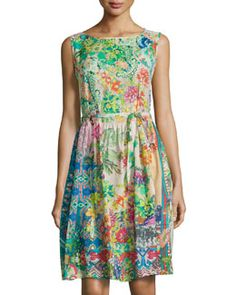 TA5U3 Johnny Was Mix-Print Sleeveless Fit-and-Flare Dress, Multicolor