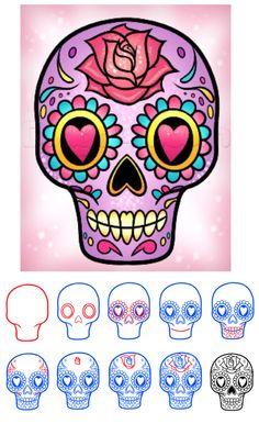 'How to Draw a Sugar Skull Easy...!' (via DragoArt)